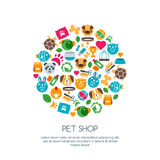 Vector flat illustration of cat, dog, parrot bird, turtle, snake. Stock Photo