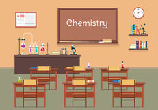Vector flat illustration of chemistry lassroom at the school, university, institute, college. Desks with books rulers. Flasks, bottles, beaker, microscope and Stock Images