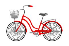 Single bicycle with a front wicker basket on a white background. Vector flat style. stock illustration