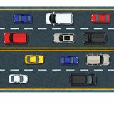 Vector flat illustration of city transport and traffic jam. Highway road with moving cars. Automobiles top view. Street traffic and transport design elements Stock Photos