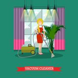 Vector flat illustration of cleaning woman with vacuum cleaner. Stock Image