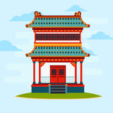 Vector flat illustration. Colorful oriental building. Asian architecture. Vector flat illustration. Colorful oriental building. Light blue background with Stock Image