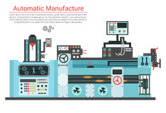 Vector flat illustration of complex engineering machine with pump, pipe, cable, cog wheel, transformation, rotating Royalty Free Stock Photos
