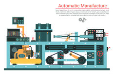 Vector flat illustration of complex engineering machine with pump, pipe, cable, cog wheel, transformation, rotating Stock Photos