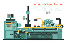 Vector flat illustration of complex engineering machine with pump, pipe, cable, cog wheel, transformation, rotating Stock Images