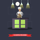 Vector flat illustration of confectioner and cake with two tiers. Vector illustration of confectioner and big cake with two tiers. Restaurant kitchen, bakery or Royalty Free Stock Photos