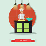 Vector flat illustration of cook rolling out the dough Royalty Free Stock Photo