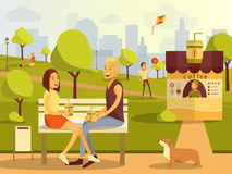 Vector flat illustration of couple taking rest in city park. Vector flat illustration of happy couple taking rest in city park. Young man and woman sitting on Royalty Free Stock Images