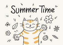 Lovely cat laying on the grass in relax summer time. Cute cartoon flat vector animal illustration. Vector flat illustration of cute cartoon animal Stock Images