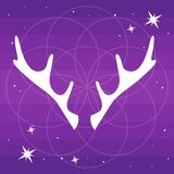 Vector flat Illustration of deer horns silhouette and soft light around mandala on a gradient purple starry backgroud