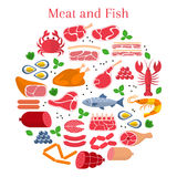 Vector flat illustration with different kinds of meat and fish. Beef steak,lamb, pork, chicken, sausages, crab, salmon, lobster, shrimp, oyster and caviar Stock Photography
