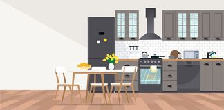 Modular Kitchen Interior Flat Design Stock Illustrations 41