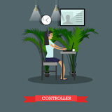 Vector flat illustration of emergency police service control room operator Stock Photos