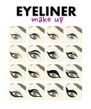 Vector flat illustration of eyeliner make up. Royalty Free Stock Image