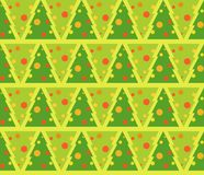 Vector flat illustration of fir tree decorated for Christmas seamless pattern. Vector flat illustration of fir tree decorated for Christmas seamless pattern Royalty Free Stock Photo
