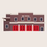 Vector flat illustration of fire station Stock Photo