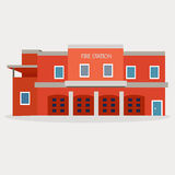 Vector flat illustration of fire station Royalty Free Stock Photography