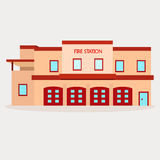 Vector flat illustration of fire station. Building Stock Photo