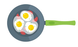 Vector flat illustration of fried eggs on a frying pan. Royalty Free Stock Photos