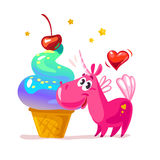 Vector flat illustration with funny cute little unicorn character and big tasty ice cream Royalty Free Stock Photos