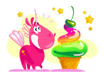 Vector flat illustration with funny cute little unicorn character and big tasty ice cream cone Stock Photos