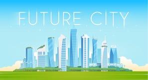 Future city. Vector flat illustration. Future city. Modern buildings. Green city stock illustration