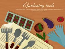 Vector flat illustration of garden agricultural accessories, tools, instruments. Equipment for farmyard. Trowel, shovel Stock Photos