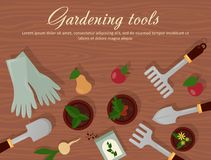 Vector flat illustration of garden agricultural accessories, tools, instruments. Equipment for farmyard. Trowel, shovel Royalty Free Stock Photos