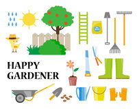 Vector flat illustration of gardening elements Stock Photos