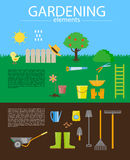 Vector flat illustration of gardening elements Stock Images