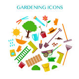 Vector flat illustration of gardening elements with text place. Royalty Free Stock Photos