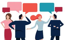 Vector flat illustration, a group of people communicates through the Internet social networks, the concept of Royalty Free Stock Photo