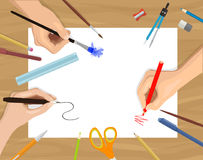 Vector flat illustration of hands painting, drawing and crafting. On white paper with space for your text on wooden table stock illustration