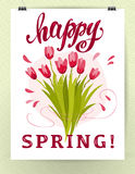 Vector flat illustration of hanging poster with spring flowers Royalty Free Stock Images
