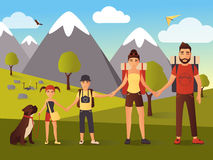 Vector flat illustration of happy family in the mountains. Happy family hiking in the mountains vector illustration. Father, mother, son and daughter holding Stock Photography