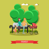 Vector flat illustration of happy family walking in the park Royalty Free Stock Photos