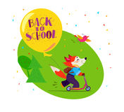 Vector flat illustration of happy funny fox student with air balloon riding scooter. Royalty Free Stock Photography