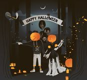 Vector flat illustration. Happy Halloween card. Couple in fancy dress holding hands in halloween costumes go to the vector illustration