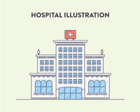 Vector flat illustration of a hospital building. With a red cross on the top on a light yellow background. Cartoon picture Royalty Free Stock Image