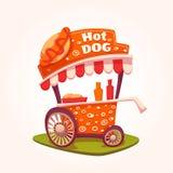 Vector flat illustration of Hot Dog cart Stock Photos