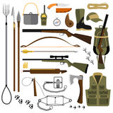 Vector flat illustration of hunting gear and weapons Royalty Free Stock Image