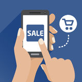 Vector flat illustration icon with the hand and mobile phone with a smartphone Stock Photo