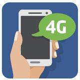 Vector flat illustration icon with the hand and mobile phone with a smartphone 4g. Flat illustration icon with the hand and mobile phone with a smartphone royalty free illustration