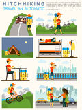Vector flat illustration infographic of hitchhiking tourism (road travel). Man with a big backpack travelling. Sleeping Royalty Free Stock Images