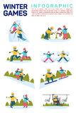 Vector flat illustration infographic of winter snow sport games. Skiing, making snowman, skating, angels on snow Stock Photography