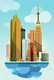Vector flat illustration. Landscape of the future. Modern technologies Big city, skyscrapers and drones flying in the sky. Vector flat illustration Stock Photography