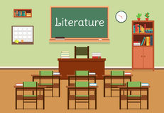 Vector flat illustration of literature classroom at the school, university, institute, college. Lesson for diploma. Teaching and learning. School classroom Royalty Free Stock Photo