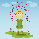 Little girl standing on a green lawn in a dress of flowers spreading his hands to the sides of which rise up the heart. Vector flat illustration of a little girl vector illustration