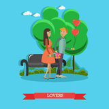 Vector flat illustration of loving couple having got a date Stock Photography