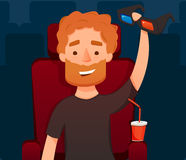 Guy in cinema. hold 3d glasses.. Vector flat illustration. Man Sit Watching Movie.   . cartoon Stock Images